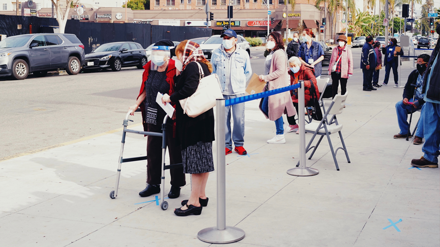 Our latest vaccine pop-up clinic attracts a long line of Koreatown community members.
